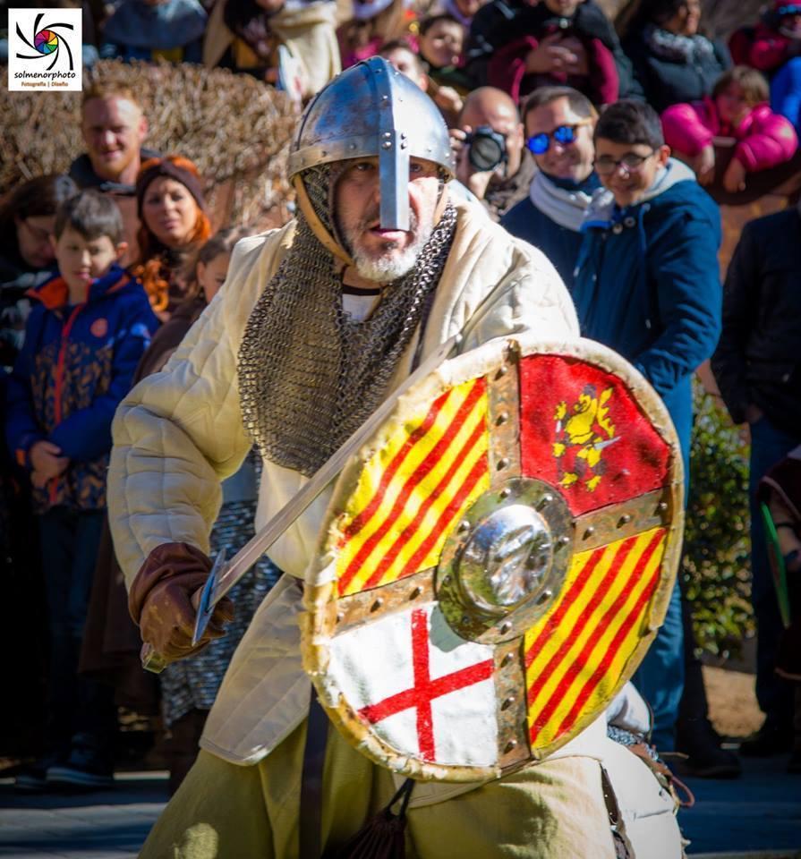 Soldado Almogávar en plena batalla en las Bodas de Isabel de Segura